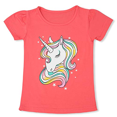 TTYAOVO Camiseta de Algodón Unicornio para Niñas, Camiseta de Manga Corta para Niños Camiseta de Impresión Unicornio Lindo Tamaño 4-5 Años Unicornio-Rosa