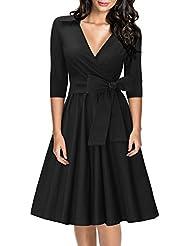Miusol® Damen Retro Cocktailkleid Elegant 3/4 Ärmel V-Ausschnitt 40er Rockabilly Party Kleid Schwarz EU 36-48
