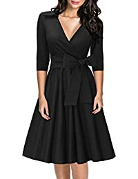 Miusol Damen Elegant 3/4 Ärmel V-Ausschnitt 40er Retro Cocktailkleid Rockabilly Party Kleid Schwarz EU 36-48