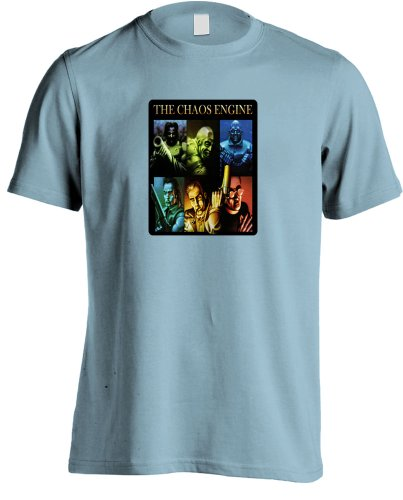 Die Chaos-Motor,80er-Jahre Retro Spiel T-Shirt Gr. XX-Large, himmelblau (80er-jahre-spiele-t-shirts)