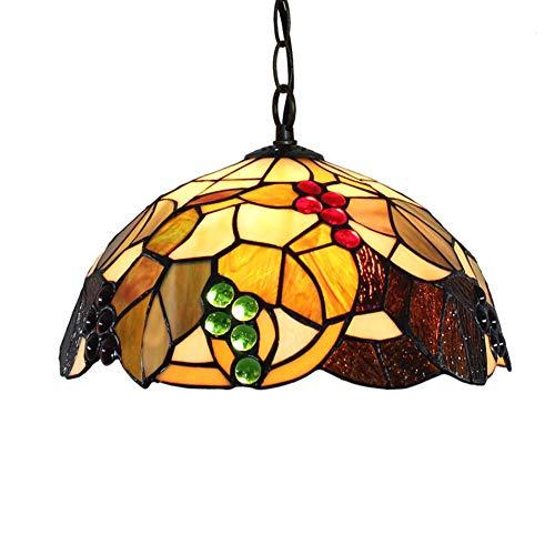 Light-GYH 12-Zoll-Tiffany-Stil Kronleuchter, Glasmalerei Wohnzimmer Decke Pendelleuchte, Trauben-Design Korridor Balkon Deckenleuchte Hängelampe -