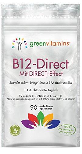 Vitamin B12 komplex, 90 Tabletten mit 1000mcg Methylcobalamin. Vegane Lutschtabletten mit Erdbeergeschmack für eine sublinguale Aufnahmen. B12-Direct von greenvitamins