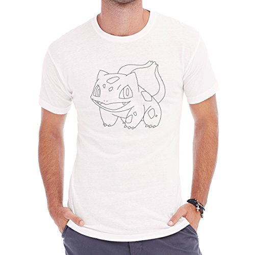Pokemon Bulbasaur First Generation Sketcj Black White Herren T-Shirt Weiß