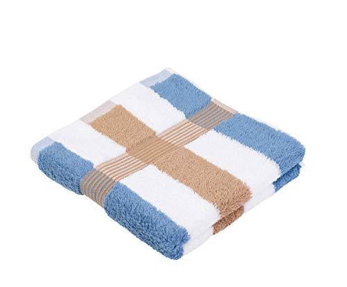 Gözze Handtuch 2er-Set, 100% Baumwolle, 50 x 100 cm, New York, Streifen, Marone/Weiß/Fjord, 555-9700-A4 - Streifen Werfen