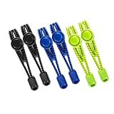 JZZJ 3 Pairs Elastic Laces No Tie Laces Elastic Shoelaces with Lock for Adults and Kids Running Shoes