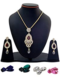 Banarsi Das Gold Plated Traditional Necklace Set With Earrings For Women Party Wear Jewellery Set For Girls Women