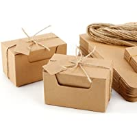 CLE DE TOUS - Set de 50 Cajas para dulces regalos Jabón Caja kraft de boda Rústico Cajita de Rectángulo Kraft Paper