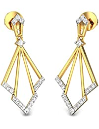 Candere By Kalyan Jewellers 18KT Yellow Gold and Diamond Drop Earrings for Women