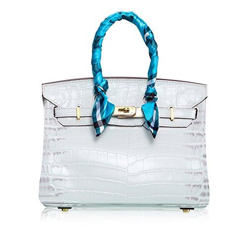 SHINING KIDS Leder Handtaschen Fashion Crocodile Muster Schulter Messenger Bag Weiblich,White - Crocodile Hobo