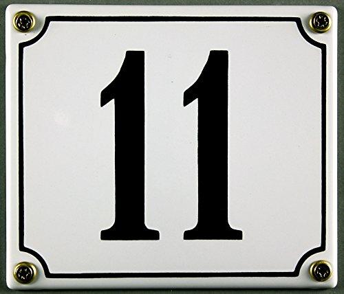Emaille Hausnummernschild - Wählen Sie Ihre Nummer - Zahlen 1 bis 30 verfügbar - weiß/schwarz 12x12 cm und 12x14cm - sofort lieferbar! Hausnummer Schild wetterfest und lichtecht (11 weiß/schwarz 12x14cm)