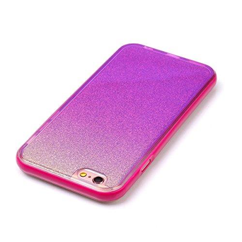 iPhone 6 Plus Coque,iPhone 6S Plus Silicone Coque,iPhone 6S Plus Housse - Felfy Glitter Etui Housse Placage Coque en Silicone Ultra-Mince Etui Soft Housse Plating Case Slim Gel Cover, Felfy Etui de Pr Miroir Rosa Rote
