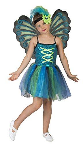 Kleiner Pfau Kostüm für Mädchen Gr. 3-5 - Pfau Kostüm Mädchen