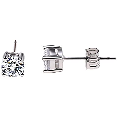 "MUUII – Sterling Silver Stud Earrings for Women with Swarovski Element Crystal Cubic Zirconia (CZ)– Stunning Diamond like Shine and Polished to Perfection – From Our ""Elegance"" collection –"