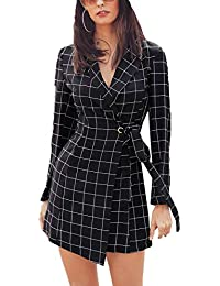 MISOMEE Damen Elegant Plaid Lange Ärmel Anzug Kragen Business Irregulär  Blazer Kleid 924419008a