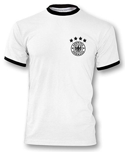Luckja EM 2016 Deutschland Trikot Wunschname und Wunschnummer Motiv 14 Retro Herren T-Shirt