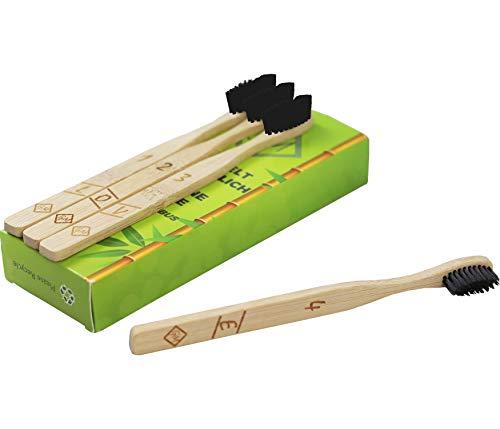 ♻100% natürlich 4er-Pack Bambus zahnbürsten aus nachhaltigem Bambus-Holz BPA-freie Bambus Holzzahnbürste, plastikfrei , umweltfreundlich, vegan, biologisch abbaubar, recycelbar♻