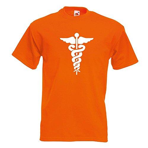 KIWISTAR - Äskulapstab - Ärztesymbol - Schlangen T-Shirt in 15 verschiedenen Farben - Herren Funshirt bedruckt Design Sprüche Spruch Motive Oberteil Baumwolle Print Größe S M L XL XXL Orange