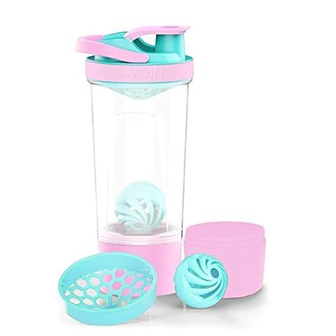 AVOIN colorlife 720ml Protein Shaker Bouteille avec Mixball et 200ml Storage Jar - Sans BPA