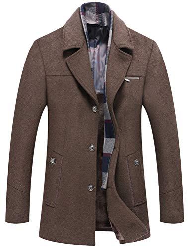 Wolle Barn Mantel (Mordenmiss Herren Wintermantel aus Wolle Slim Fit Fleece Trenchcoat mit Karo-Schal - Khaki - XX-Large)