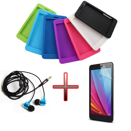 XMY Colour Green Silicone Gel Case Cover Fall-Abdeckung +Film +Headphone For 7