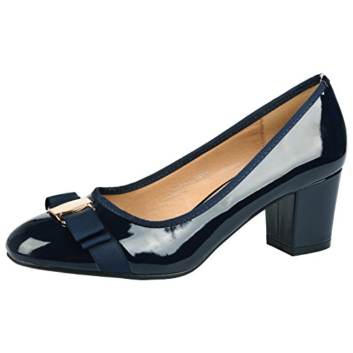 ByPublicDemand Cherie Womens Mid Heel Bow Detail Slip On Court Shoes Navy Blue Patent Size 7 UK / 40 EU