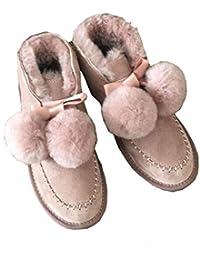 SK Studio Donna Gamba Corta Stivali di Pelliccia Scarpe Invernali Fodera  Calda Stivali da Neve 1e75d4fb4b1