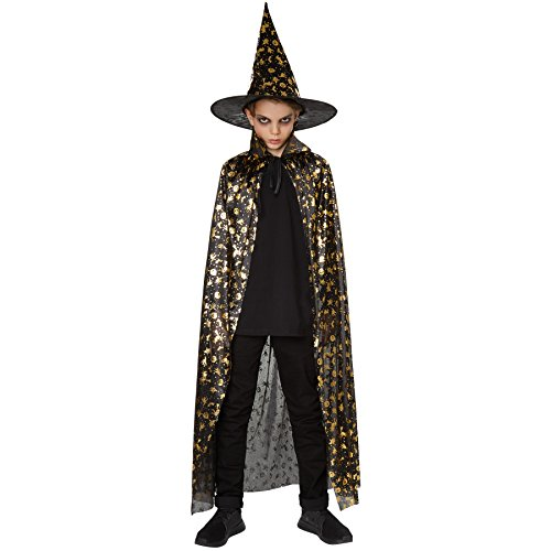 inder Set Hut und Umhang Halloween | Bestehend aus wunderschönem Hut und Umhang | Zauberhafter, goldener Halloween-Kürbis-Aufdruck | Ideales Zubehör für Fasching und Halloween (60 cm | Nr. 301656) (60-sekunden-halloween-kostüme)