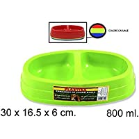 Takestop® cuenco 2 bandejas plástico 30 x 16.5 x 6 cm 800 ml para cocker