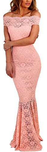 Länge Trägerlosen Ballkleid (Lukis Damen Meerjungfrau Ballkleider Off Shoulder Lang Abendkleider Partykleid Rosa S-Brust 80~90cm)