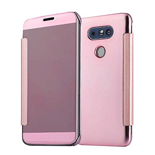 Cuitan Luxus Electroplate Spiegel PC Flip Hülle (PU Leder Verbinden) für LG G5, Mode Kreative Entwurf Plating Mirror PC Hart Schutzhülle Handyhülle Handytasche Tasche Case Cover - Rose Gold