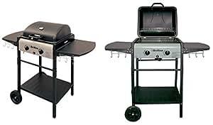 Grillino Barbecue Gas Pietra Lavica 2 Fuochi, Bruciatori, Con Griglia E Mensole
