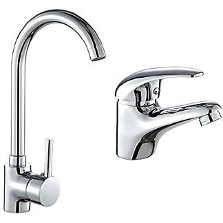 DP Grifería Clavel – Grifo de fregadero, color plateado + Naranjo – Grifo de lavabo, color plateado