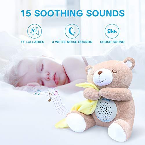 Einschlafhilfe Babys Musik, Nachtlicht Kinder Projektor Babyparty Geschenk Tragbare Spielzeug-Teddy mit Beruhigende Weißes Rauschen und Licht - weißes, und, Tragbare, SpielzeugTeddy, Rauschen, Projektor, Nachtlicht, Musik, mit, Licht, Kinder, Geschenk, einschlafhilfe, Beruhigende, Babys, Babyparty, baby einschlafhilfen, Apunol