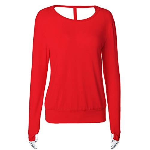 Frauen Open Back Fitness T-Shirt Lose Beiläufige Langarmshirts Damenmode Sexy Rundhals Pullover Damen Sweatshirt Tops Einfarbig