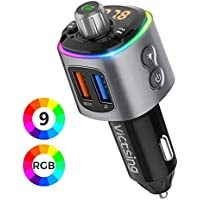 VicTsing Transmisor FM Bluetooth Coche Mechero, [8 Real Dinámico RGB] [9 Modos de Luz] Manos Libres Coche, BT5.0 Reproductor MP3 Adaptador con USB QC3.0 y Siri Google Asistente, Hi-Fi Música Spotify