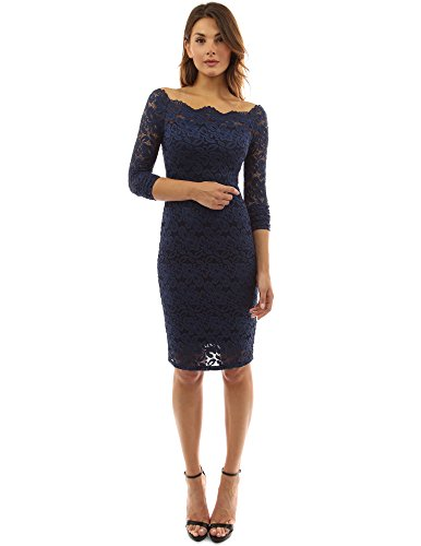 PattyBoutik Damen Schulterfreies Etuikleid mit geblumter Spitze (dunkelblau 40/M) - White Lace Kleid