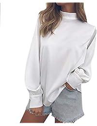 Blusa para Mujer Gasa Linterna Manga,Moda Solid T-Shirt Office Ladies