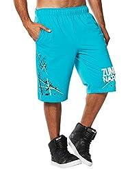 Zumba Fitness Nation - Pantalones cortos para hombre, color azul, talla L