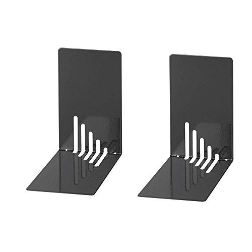 Wedo 1021001 - Sujetalibros de metal, estrecho, 2 unidades, 14 x 8.5 x 14 cm, color negro