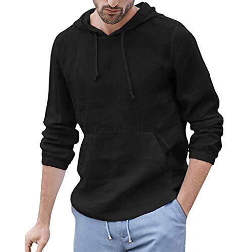 Crazboy Herren Baggy Baumwolle Linen Kapuzen T-Shirts Tasche Solide Langarm Retro Tops(XX-Large,Schwarz)