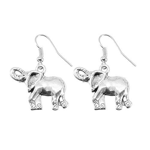 Treuheld® | Elefanten Ohrringe/Ohrhänger in Silber - schöne Hänger fürs Ohr mit Elefant | Silberne ausgefallene Ohrringe Tier Ohrstecker Damen Kostüm Karneval Fasching Silber