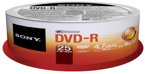 Sony 25DMR47SP DVD-R Rohlinge (16x Speed, 4,7GB, 120 Min, 25-er Stück Spindel)