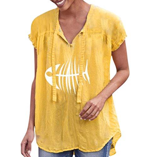 Yvelands Damen Mode T-Shirt Kurzarm V-Ausschnitt mit Knöpfen Krawatte Vintage Print Loose Shirt Top Bluse(Yellow2,XL)