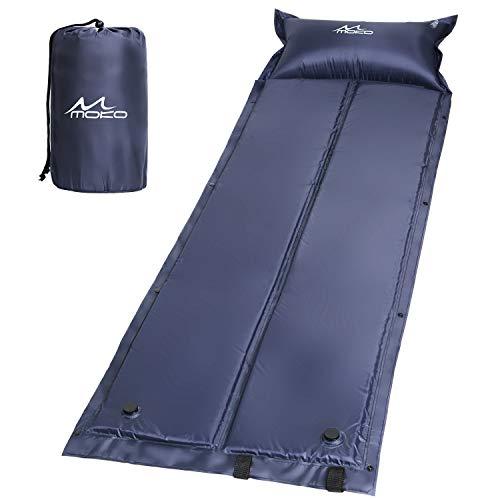 MoKo Selbstaufblasbare Luftmatratze, Wasserdicht, Leicht und Gemütlich Sleeping Pad Luftbett mit aufblasbarem Pillow für Outdoor Camping, Wandern, Reise, Trekking, Marineblau, 185 x 60 x 2.5 cm