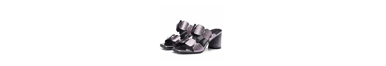 GTVERNH Zapatos de Mujer/Cuero Moda Joker Los Dedos De Los Pies Zapatillas Golden Fashion Confort Elegancia Tacon... -