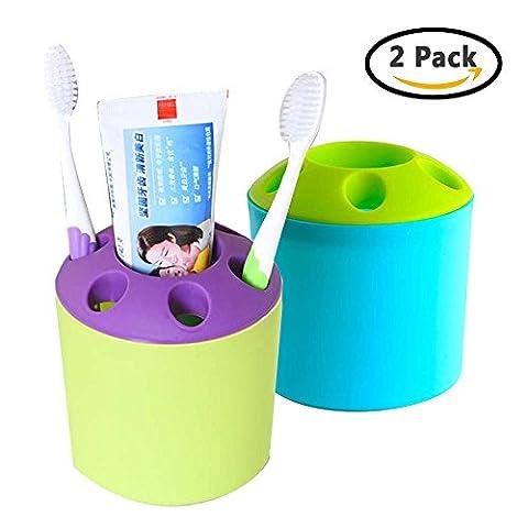 Support de brosse à dents Boîte de rangement multifonctionnel Plastique Dentifrice Organisateur de stockage de stylo avec 7trous pour PC de bureau de salle de bain de voyage et Home [Lot de 2] [Couleur aléatoire]