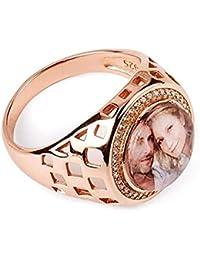 2de4bcd52ade Souljewelry Anillo Personalizado de Plata Ley925 DIY con Foto Redondo  Chapado 18K Regalo para novía
