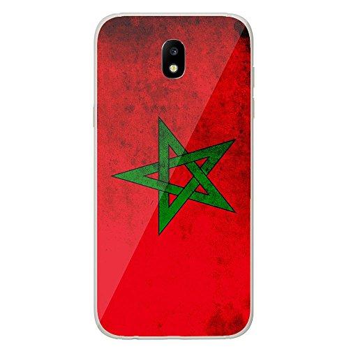 Housse Coque Etui Samsung Galaxy J5 2017 silicone gel Protection arrière - Drapeau Maroc