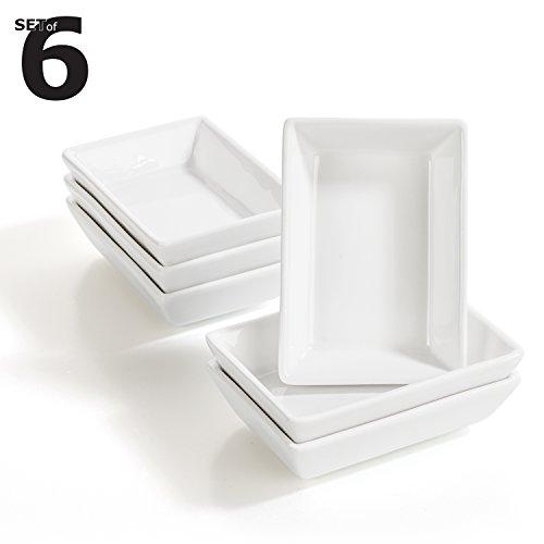 "6 x Rechteckiges Saucenschälchen / Dipschale Fingerfood Set aus Porzellan \""Kinki\"" (8,8 x 6,2 x 2,3cm)"