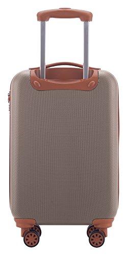 HAUPTSTADTKOFFER Handgepäck Hartschalen-Koffer Trolley Rollkoffer Reisekoffer, TSA 58 cm, 38 L, Champagner -